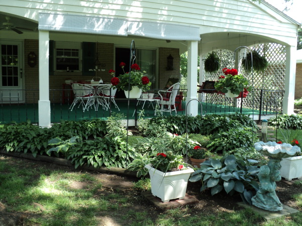 Porches and garden, Hostas shade garden and back porch, Hostas great shade plants , Porches Design