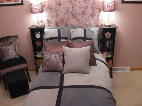 Very small girl's bedroom - 10 x 10, My daughter loves to read and she has a button on the side of the bookshelves to turn on/off the lamps (no need to get up), also the corner desk saves space in this tiny 10x10 room., Girls' Rooms Design