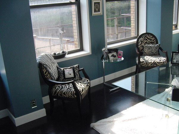 Office design Modern Zebra White Blue, A large old building with vintage wood walls and cabinets torn out to make a modern office., Used zebra furniture to add that modern edge. , Home Offices Design