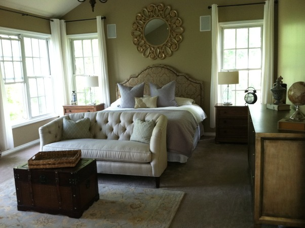 A Master Bedroom fit for The Godfather, Master bedroom with demask headboard, couch and trunk, white curtains, Bedrooms Design