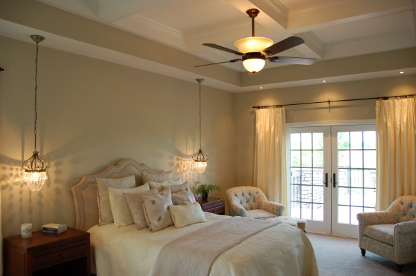 "Monochromatic Bedroom, I was inspired by Candice Olsen to transform our bedroom into a comfortable monochromatic  ""hotel"" like suite.  We took out the existing ceiling and created a coffered ceiling,  added bookcases and a fireplace.  , Bedrooms Design"