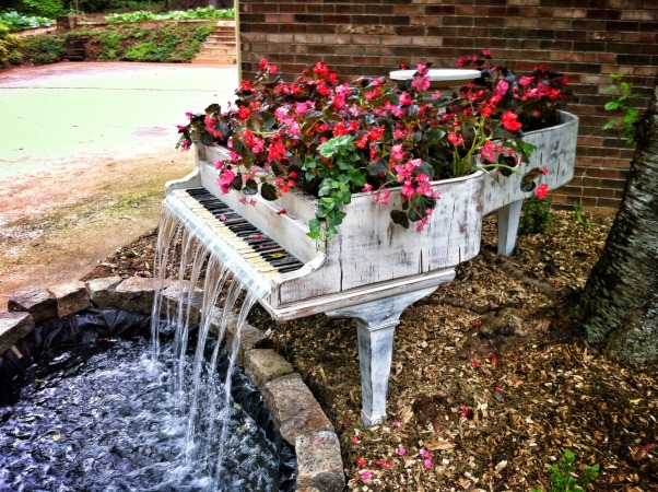 My Zen water garden, Outdoor water fountain, An 1885 Steinway grand piano that was unable to be restored, so my son brought it home and created a beautiful fountain out of it !, Gardens Design