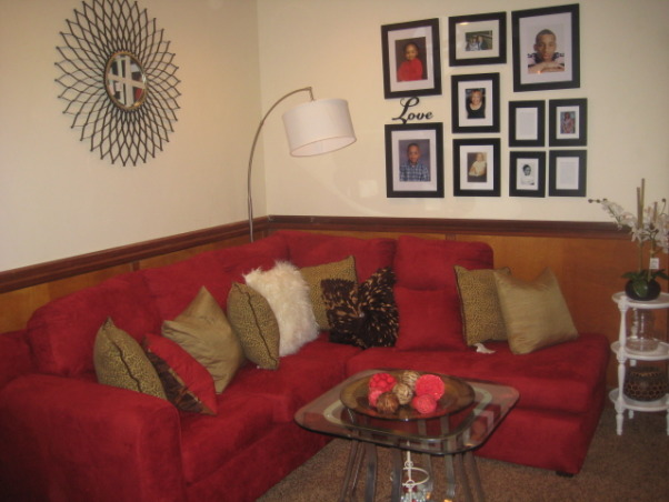 This room was an add-on , This room was an addition to the house. It is used as the living room. It had a electric box encased next to the fireplace. he Living room looked down into the basement., Living Rooms Design