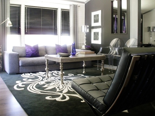 Pops of Violet, Black, white and silver modern living room with subtle pops of violet., Living Rooms Design