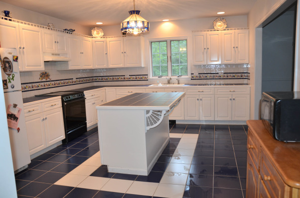 top and floor is cobalt blue tile with white grout , Kitchens Design