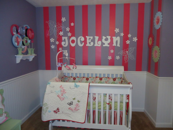Jocelyn's Room, This is my daughter Jocelyn Annalise's room.  I started with a theme of butterflies and flowers and it grew from there. , The bed was my son's old bed it was a dark wood I painted it white to match the room , Nurseries Design