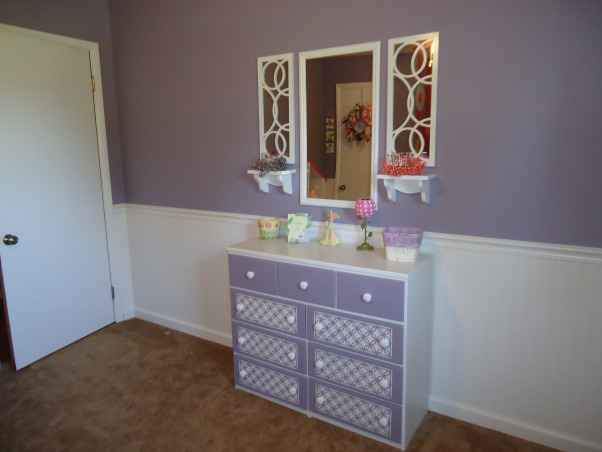 Jocelyn's Room, This is my daughter Jocelyn Annalise's room.  I started with a theme of butterflies and flowers and it grew from there. , An old dresser I painted and stenciled , Nurseries Design