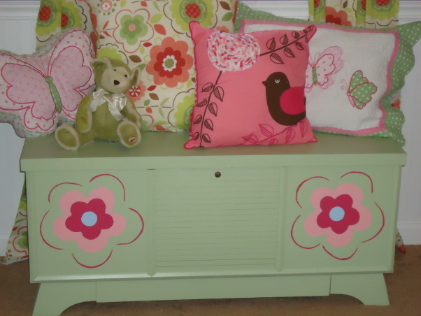 Jocelyn's Room, This is my daughter Jocelyn Annalise's room.  I started with a theme of butterflies and flowers and it grew from there. , This was an old lane bryant cedar chest I painted to match the room , Nurseries Design