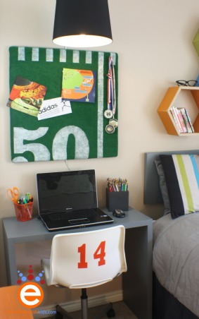 Boy's Soccer Room Makeover for $300.00, I was invited by a friend, whom owns a blog to takeover her son's room makeover for a $300.00 budget.  The room was trapped in between boy and teen with an adventurer theme.  I focused the room onto her son's interest in soccer., The bi-fold desk and memo board I created.  Just enough space and display to give the room some personality., Boys' Rooms Design