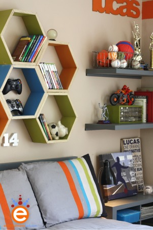 Boy's Soccer Room Makeover for $300.00, I was invited by a friend, whom owns a blog to takeover her son's room makeover for a $300.00 budget.  The room was trapped in between boy and teen with an adventurer theme.  I focused the room onto her son's interest in soccer., You can see the shelves and the headboard which are just portions of bi-fold doors cut and painted., Boys' Rooms Design