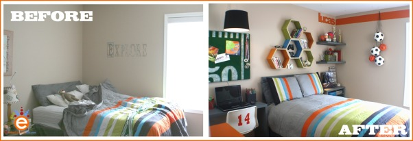 "Boy's Soccer Room Makeover for $300.00, I was invited by a friend, whom owns a blog to takeover her son's room makeover for a $300.00 budget.  The room was trapped in between boy and teen with an adventurer theme.  I focused the room onto her son's interest in soccer., Here's the before and after.  The homeowner didn't like the bedding, she felt it didn't relate to the walls, it was too bright.  To help that ""relationship"" I over-dyed the bedding with a taupe which mellowed out the colors and took the bright white toward an off-white., Boys' Rooms Design"