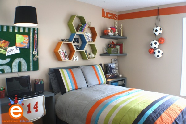 Boy's Soccer Room Makeover for $300.00, I was invited by a friend, whom owns a blog to takeover her son's room makeover for a $300.00 budget.  The room was trapped in between boy and teen with an adventurer theme.  I focused the room onto her son's interest in soccer., Limited to a $300.00 budget I chose to create shelving, the desk, headboard and storage cubes out of bi-fold closet doors.  I purchased some plywood, astro turf and paint to create the other elements in the room.   Details are on my blog at http://www.embellishmentskids.blogspot.com/2012/04/teen-bedroom-30000-makeover-challenge.html, Boys' Rooms Design