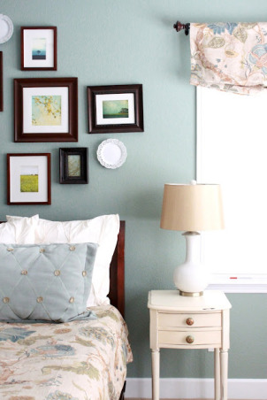Modern Country Master Bedroom, My clean, modern, country, master bedroom.  A patterned duvet, deep aqua wall color, gallery wall, and fun modern accents., I wanted to redo my master bedroom light, bright and fresh but wanted to still use the existing furniture. The room began when I purchased the duvet and pillow shams from Horchow.  I got the euro shams from West Elm and the ruffle pillow from Etsy.  I picked a dark teal color for the wall - Scenic Drive from Benjamin Moore. , Bedrooms Design