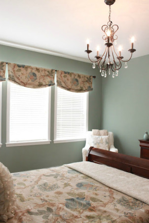 Modern Country Master Bedroom, My clean, modern, country, master bedroom.  A patterned duvet, deep aqua wall color, gallery wall, and fun modern accents., The custom valences were made from and Etsy seamstress - she no longer has a shop and coordinate with the bedding.   , Bedrooms Design