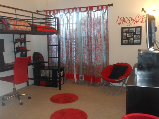 Boys Red, Black, and Grey Loft Urban Contemporary Bedroom, My son begged for a loft bed, this is his room transformed, for his 9th Birthday. It opens up the space for him to play Wii. The Loft bed was purchased from Walmart.com, along with the bedding, curtains, majority of the accessories were purchased from Target, including the rugs, lighting, and desk accessories., Boys' Rooms Design