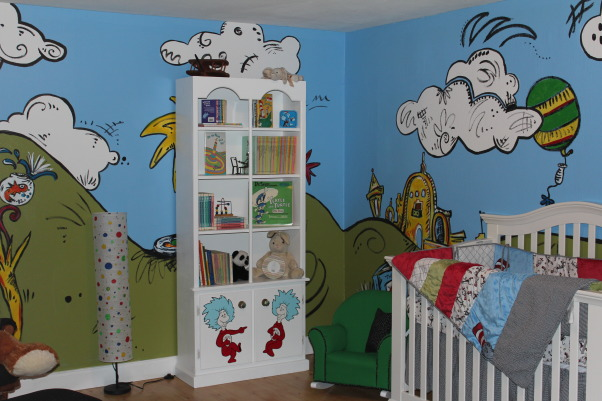 "Dr. Seuss Baby, We are adopting and therefore, wanted a gender neutral theme so we settled on Dr. Seuss. The room doesn't have windows so something bright and colorful is what we were going for. I found the bedding online and then started the design process from there. An artist friend of ours came over and helped us paint and it all came together in 2 short days! I can't wait to bring our baby home so they can grow up in this fabulously fun room! For more pictures and links to where I bought certain items, visit my blog: http://carsonfamilyjourney.blogspot.com/2012/07/the-nursery-phase-2.html  For a link to our friend that helped design and paint the room, visit her FB page. Search ""Robin Oas Designs"", The view from the door to the nursery!   , Nurseries Design"