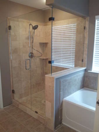 diy travertine tiled shower makeover we changed out our builder
