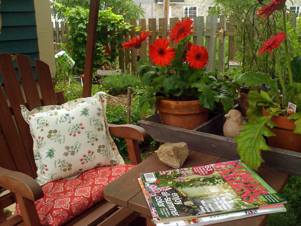 My garden and potting shed, Hello! I decide to share with you photos of my garden and potting place. When we first bought the house, there was NOTHING outside...so, with a friend we made plans and made all the garden...the potting shed was made with the help of 7 good friends...hope you enjoy looking at these! Margot, from Quebec, The glider where I love to sit and read a good magazine  , Gardens Design