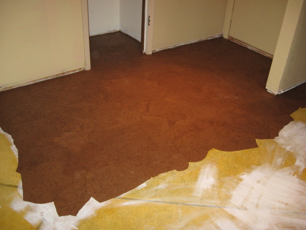 Brown Bag (builder's paper)Floor, Previously painted living room and dining room floor getting a makeover, Removed carpet from closet and vinyl tile from foyer. I will give all info on laying paper later.          , Dining Rooms Design