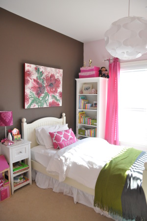 Hot Pink Room, Hot pink window treatment and storage cubes were inspired by the night lamp, which was the first purchase.  Still looking for the perfect bedding that won't clash with the wall art and the cherry blossoms rug., Added a bedskirt, some throw pillows and a light fixture., Girls' Rooms Design
