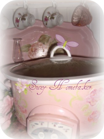 "SHABBY CHIC PINK KITCHEN, My tiny pink kitchen may be lacking square footage, but definitely not personality!! Everything is either re~cycled, re~purposed, or re~painted., pink crock pot <a href=""http://suzyhomefaker.blogspot.com/""><a href=""http://suzyhomefaker.blogspot.com/</a>     "">http://suzyhomefaker.blogspot.com/</a>     </a> , Kitchens Design"