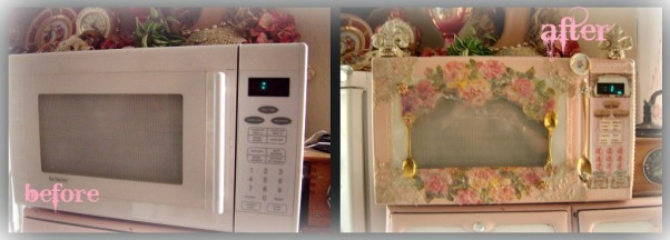 SHABBY CHIC PINK KITCHEN, My tiny pink kitchen may be lacking square footage, but definitely not personality!! Everything is either re~cycled, re~purposed, or re~painted., romantic microwave redo , Kitchens Design