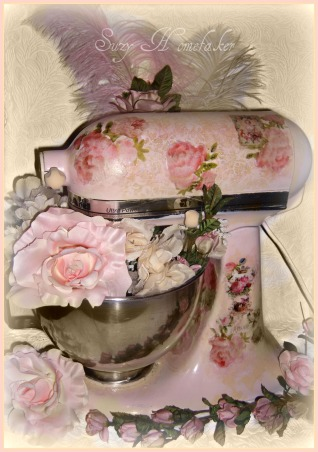 SHABBY CHIC PINK KITCHEN, My tiny pink kitchen may be lacking square footage, but definitely not personality!! Everything is either re~cycled, re~purposed, or re~painted., pink painted decoupaged Kitchen aid mixer  , Kitchens Design