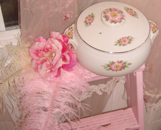 SHABBY CHIC PINK KITCHEN, My tiny pink kitchen may be lacking square footage, but definitely not personality!! Everything is either re~cycled, re~purposed, or re~painted., A adorable thrift store find...casserole dish with roses!!! , Kitchens Design