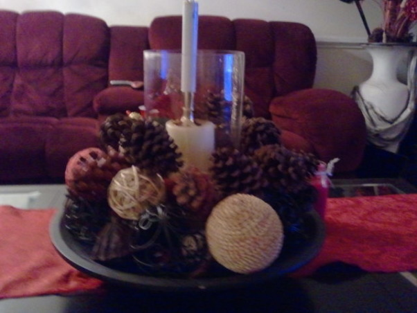 Christmas at my house, I created the center piece to give the livingroom a warrm and cozy feeling. , Holidays Design