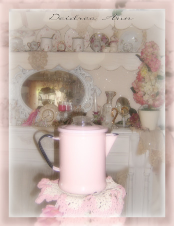 SHABBY CHIC PINK KITCHEN, My tiny pink kitchen may be lacking square footage, but definitely not personality!! Everything is either re~cycled, re~purposed, or re~painted., I love pink enamelware!! , Kitchens Design