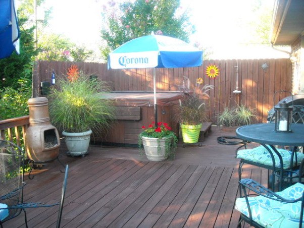 beach themed deck, 2 level deck that is attcahed to the garage. We love the beach so we tried to carry that theme throughout., A fence gives lots of privacy., Patios & Decks Design