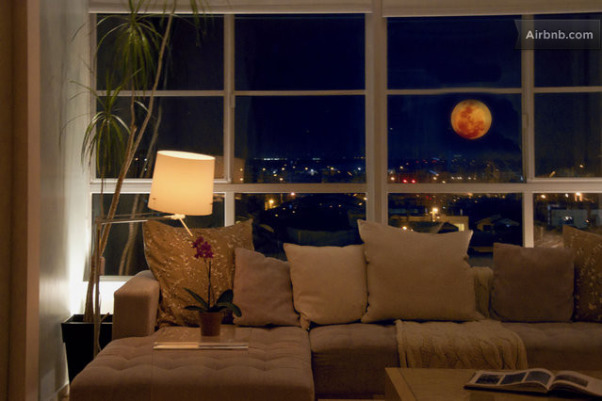 Zen Loft With Meditation Room, contemporary loft town-home in San Francisco Bay Area with bay and mountain views.  Husband and wife, Catherine Conlin & Konstantinen Baranov are both prolific musicians and have designed their home to accommodate their lifestyle which is clean, strem-lined, zen and meditative, Full moon View, Other Spaces Design