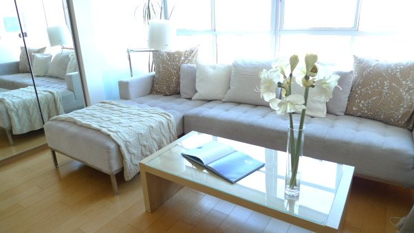 Zen Loft With Meditation Room, contemporary loft town-home in San Francisco Bay Area with bay and mountain views.  Husband and wife, Catherine Conlin & Konstantinen Baranov are both prolific musicians and have designed their home to accommodate their lifestyle which is clean, strem-lined, zen and meditative, Living Room in modern light-filled San Francisco Bay loft has bay and mountain views from both floors.  Clean, minimalist design.   , Other Spaces Design