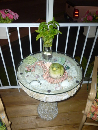 """My summer gardens, My summer joy , I designed this """"Bird Bath"""" table from sea shell's my husband collected from the beach's in Florida.  This outside room sits right outside our kitchen making it handy to cut the basil leaves when needed. , Gardens Design"""