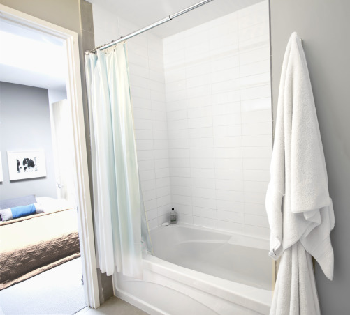 Zen Loft With Meditation Room, contemporary loft town-home in San Francisco Bay Area with bay and mountain views.  Husband and wife, Catherine Conlin & Konstantinen Baranov are both prolific musicians and have designed their home to accommodate their lifestyle which is clean, strem-lined, zen and meditative, deep bath tub with European subway tile wall.  All the fixtures in this house are European Stainless Steel Chrome from door handles to faucets.   , Other Spaces Design