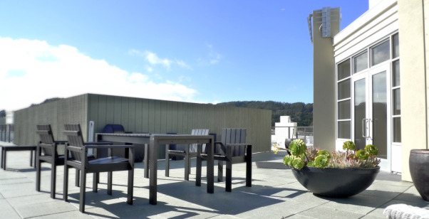 Zen Loft With Meditation Room, contemporary loft town-home in San Francisco Bay Area with bay and mountain views.  Husband and wife, Catherine Conlin & Konstantinen Baranov are both prolific musicians and have designed their home to accommodate their lifestyle which is clean, strem-lined, zen and meditative, roof deck, Other Spaces Design