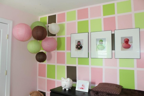 Pink & Green Paradise for Pint-Sized Princess, We wanted a room that was still very girly for our little girl, but also a little more fun for a growing toddler (who happens to love the color green). , We had squares painted on her one focal wall. I added a cluster of paper lantern balls and photographed three of her favorite ducks to add more personal artwork., Nurseries Design
