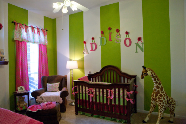 Girly Hot Pink and Green Nursery, We had all of the linens custom made for less than buying everything in a store already made. I saw the damask pattern and fell in love. I forgot to move the blanket off the chair before the picture so please ignore that :), Nurseries Design