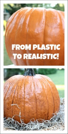"Making Plastic Pumpkins Look Real, Learn how to make plastic pumpkin look real! http://www.decorating-ideas-made-easy.com/Decorating-Ideas-blog.html, All you need is some antiquing gel, also called antiquing paint from the acrylic paint section. My standby is ""burnt umber"".  Pour some of the burnt umber paint onto a paper plate. Add a little water and mix. Next, using a brush, add your paint to a small section of your pumpkin. Then take a dry paper towel and rub up and down your pumpkin gently. This will leave the paint in the crevices of the pumpkin. Continue this technique all the way around your pumpkin.  Once you are finished, let it dry completely. Then spray with a sealer. That is it! It makes a world of difference! Happy Fall!, Holidays Design"