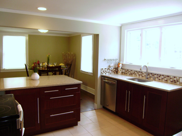 Hacketts House Kitchen Remodel, My husband and I have completed some small scale remodels over the last year.  This investment property was a wrecked foreclosure and needed a complete remodel. It's the biggest project we've taken on to date and our first ever flip. Now that's its complete and on the market, I wanted to share it here with all of you., New ceramic flooring, quartz countertops and stainless steel sink from Loews, Ikea redwood cabinets.  Wall color is Techno Grey from Sherwin Williams.  Installed recessed lights, glass tile backsplash and crown molding., Kitchens Design