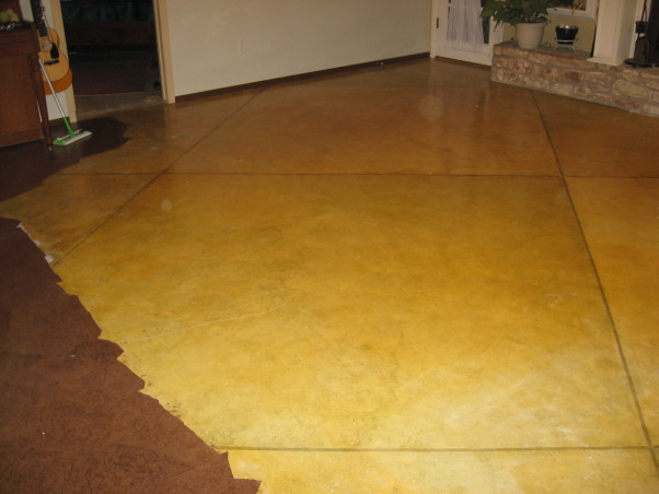 Brown bag floor, Can't afford wood floors so I decided to do brown bag floors in my house. , other side of living room  , Other Spaces Design