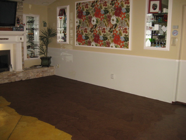 Brown Bag (builder's paper)Floor, Previously painted living room and dining room floor getting a makeover, only half of the room left to paper!     , Dining Rooms Design