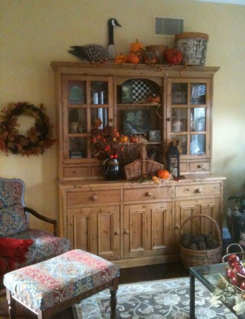 Autumn Living Room, It is time for fall!  I have changed out the living room decor for autumn.  Enjoy!, UPDATE - I found this beautiful old pine hutch made from reclaimed barn wood and added it to my living room. , Living Rooms Design