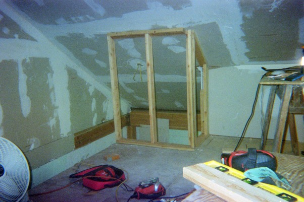 Attic Remodel, A fairly large attic is being converted into a Office/Craft/Den, a Bathroom, Bedroom and storage. Walls are up, all wired, insulation is done, working on sheet rock, (hard to do with 1 and 1/2 arms). Will have built in desk, sewing table and craft storage. , changed mind about stairs opening. built a couple of walls to enclose more of stair case. , Other Spaces Design