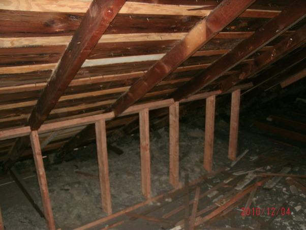 Attic Remodel, A fairly large attic is being converted into a Office/Craft/Den, a Bathroom, Bedroom and storage. Walls are up, all wired, insulation is done, working on sheet rock, (hard to do with 1 and 1/2 arms). Will have built in desk, sewing table and craft storage. , removed rafters, created narrow ceiling and reinforced rafters, knees walls for support. tons of 1920's insulation had to come out!! Found a newspaper from my birthday 1985!!  , Other Spaces Design