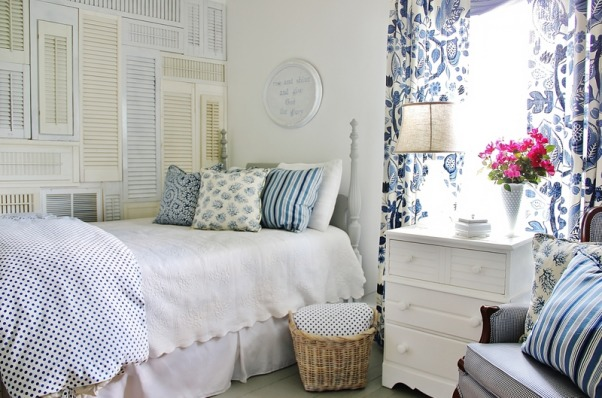 Blue and White Guest Bedroom With Shutter Wall, We just remodeled our guest bedroom at the farmhouse complete with a shutter wall.  To see details and follow along on our journey:  http://www.thistlewoodfarms.com/a-shutter-wall, Easy way to add drama and interest to a blank wall with shutters!  For more room pictures and details check out:  http://www.thistlewoodfarms.com/a-shutter-wall, Bedrooms Design