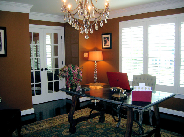 Wonderfully Workable, Floors:  Bruce Dundee Wide-Plank Hardwood In Espresso Walls:  Sherwin Williams Leather Bound In Eggshell Finish Plantation Shutters:  Show-case Shutters In Christiansburg, VA  Desk:   A Dining Room Table File Cabinet:  A Dining Room Sideboard, Home Offices Design