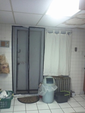 terrifying white kitchen, my old kitchen with white subway tiles all around and an unfinished laundry space, the door to my deck is covered with mesh, Kitchens Design