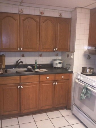 terrifying white kitchen, my old kitchen with white subway tiles all around and an unfinished laundry space, subway tile horror, Kitchens Design
