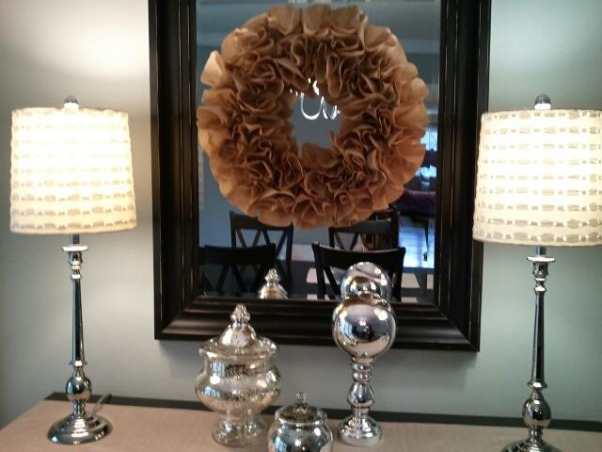 Silver Sage Dining Room, I made this wreath out of coffee filters! , Dining Rooms Design